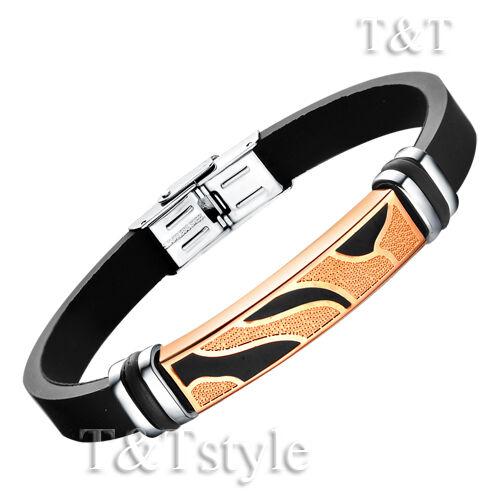 TTstyle Stainless Steel Leopard Pattern ID Bangle