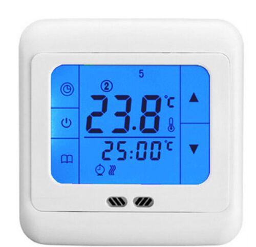 Hause Touchscreen Digital Fußbodenheizung Heizung Raumtemperaturregler LCD blau