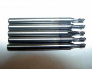 "x5 MINIATURE CARBIDE 2MM BALLNOSED SLOT DRILLS 1//8/"" SHANK LIGHT USE /& SHARP"