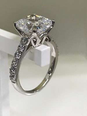 Certified 3.19Ct Oval Cut Diamond Prong Halo Engagement Ring 14K White Gold