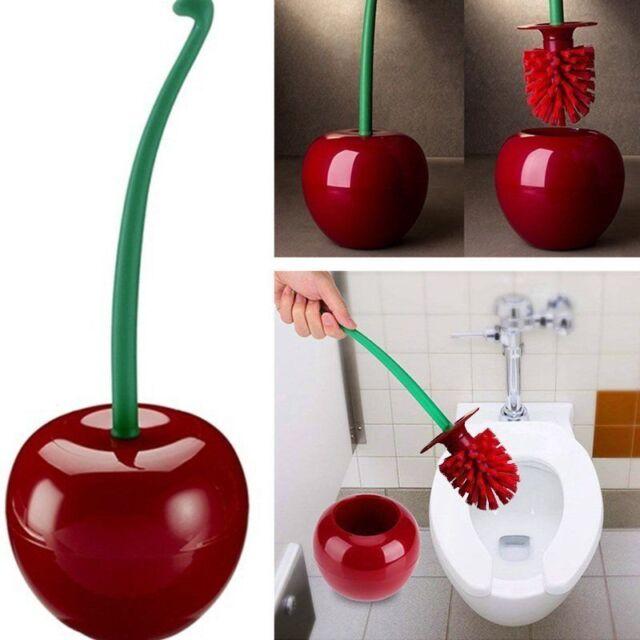 Creative Cherry Toilet Brush Holder Set Bathroom Cleaning Kit Brushes Cleaner