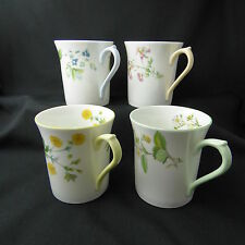 Rosina Queens Bone China Set 4 Cups Mugs Floral England