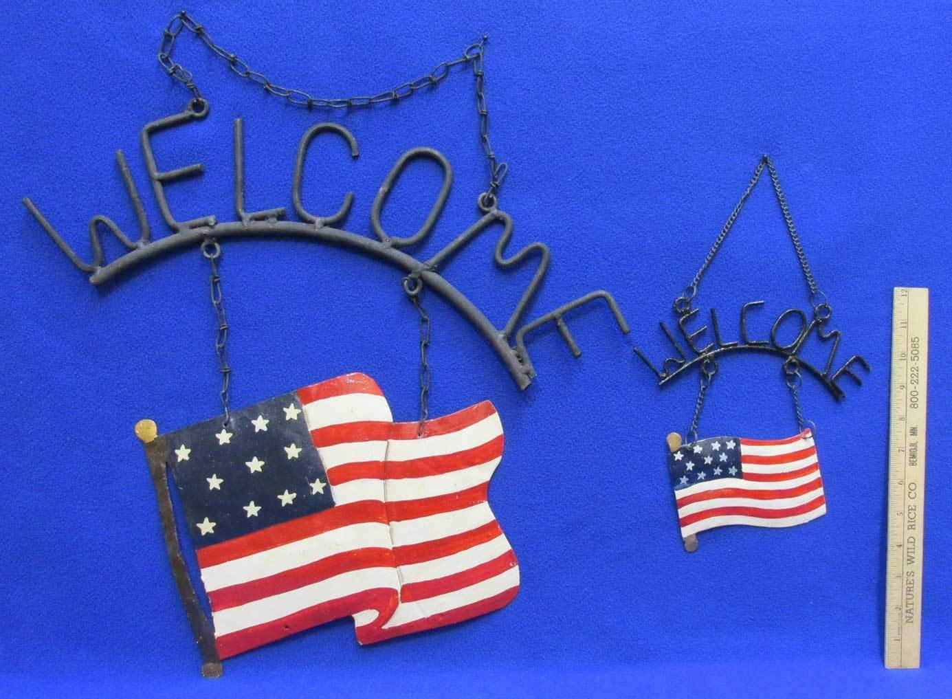 American Flag Welcome Sign Metal Painted Patriotic 4th of July Decor Lot of 2