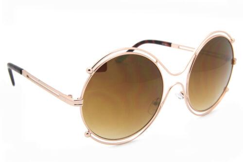 Groß Rund Überdimensional Doppel Kabel Hutkrempe Sonnenbrille Metallrahmen