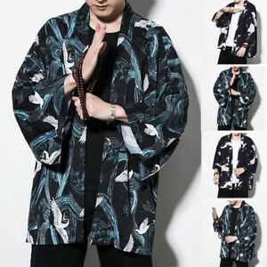 Womens-Mens-Japanese-Bath-Dressing-Gown-Floral-Hippy-Floral-Kimono-Cardigan-Tops