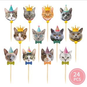 24PCS-LITTLE-KITTEN-CAT-PET-CUPCAKE-CAKE-TOPPERS-BIRTHDAY-Party