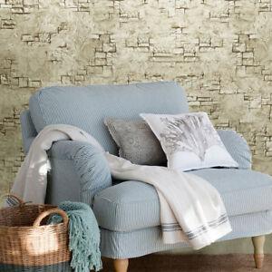 Wallpaper-brown-green-faux-rustic-stone-brick-concrete-3D-Loft-Modern-Textured
