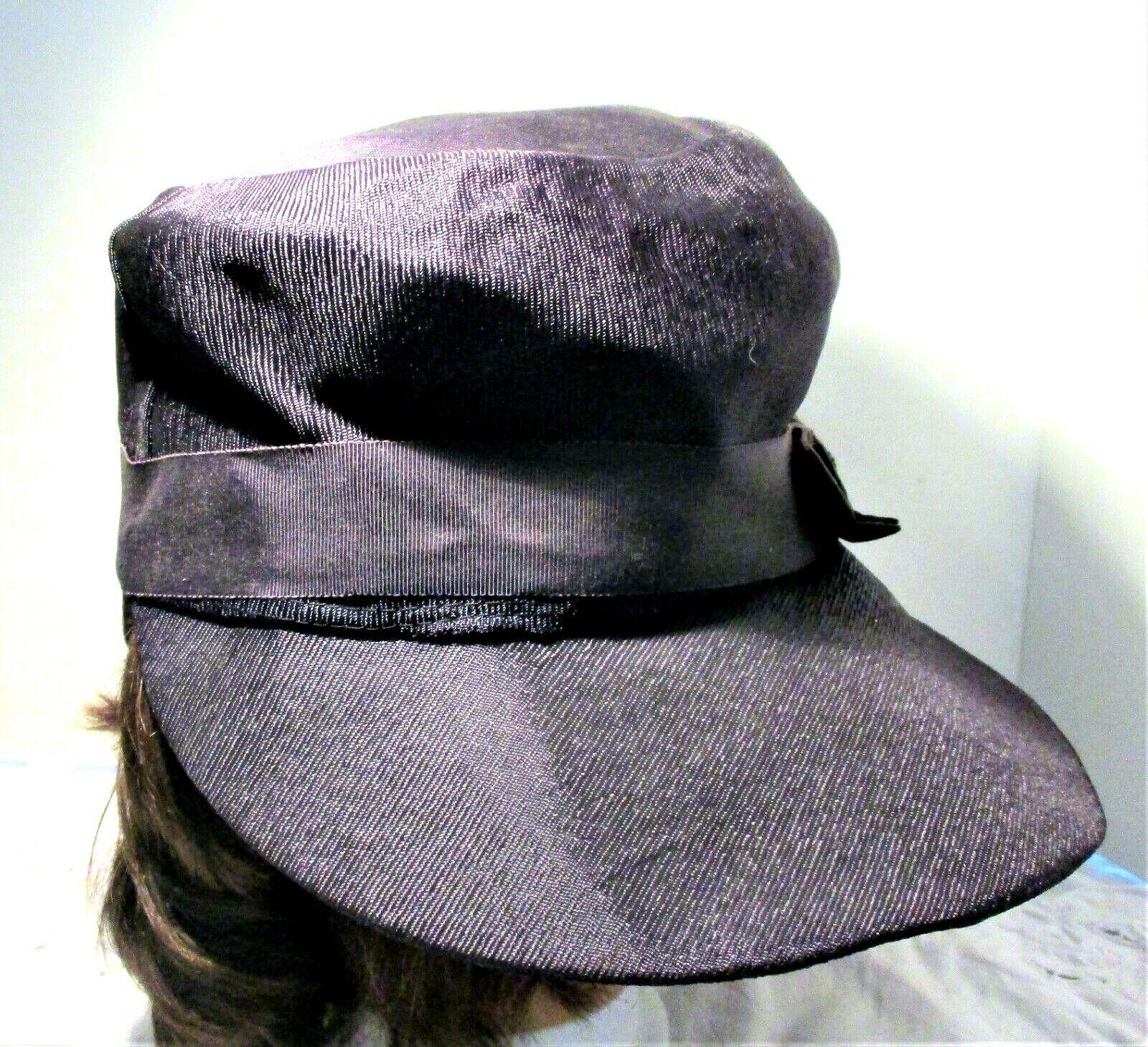 Vintage 1930s Navy Blue Wide Brim Hat With Grosgr… - image 4