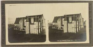 Francia-Angers-El-Pequeno-Castillo-Foto-Estereo-Vintage-Analogica