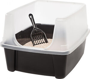 Open-Top-Cat-Litter-Box-with-Shield-and-Scoop-Black