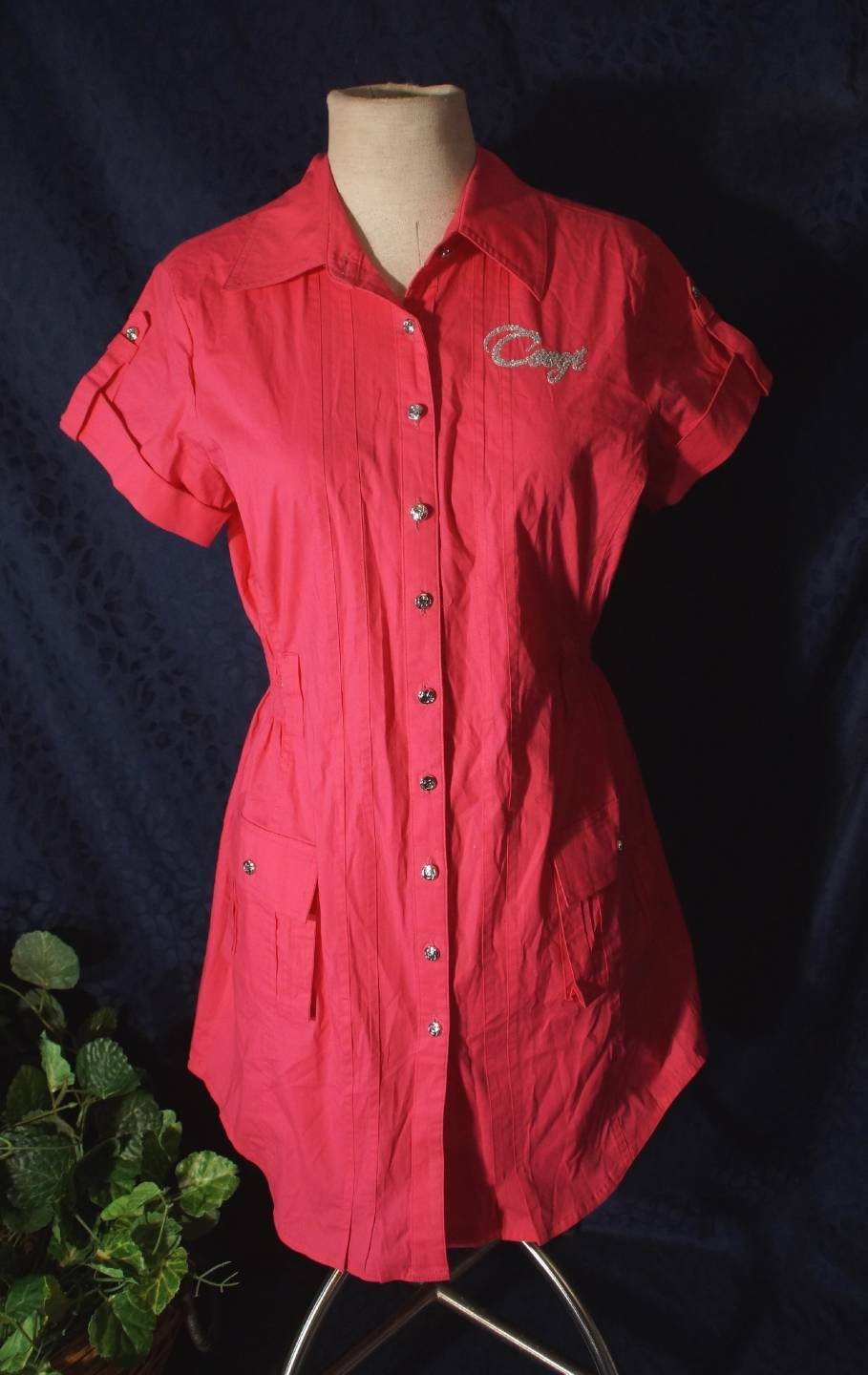 Attractive Embellsihed Red COOGI Tunic Style Minidress Sz XL