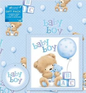 2 Sheets Baby Boy Gift Wrap Wrapping Paper Card 2 Gift Tags Blue