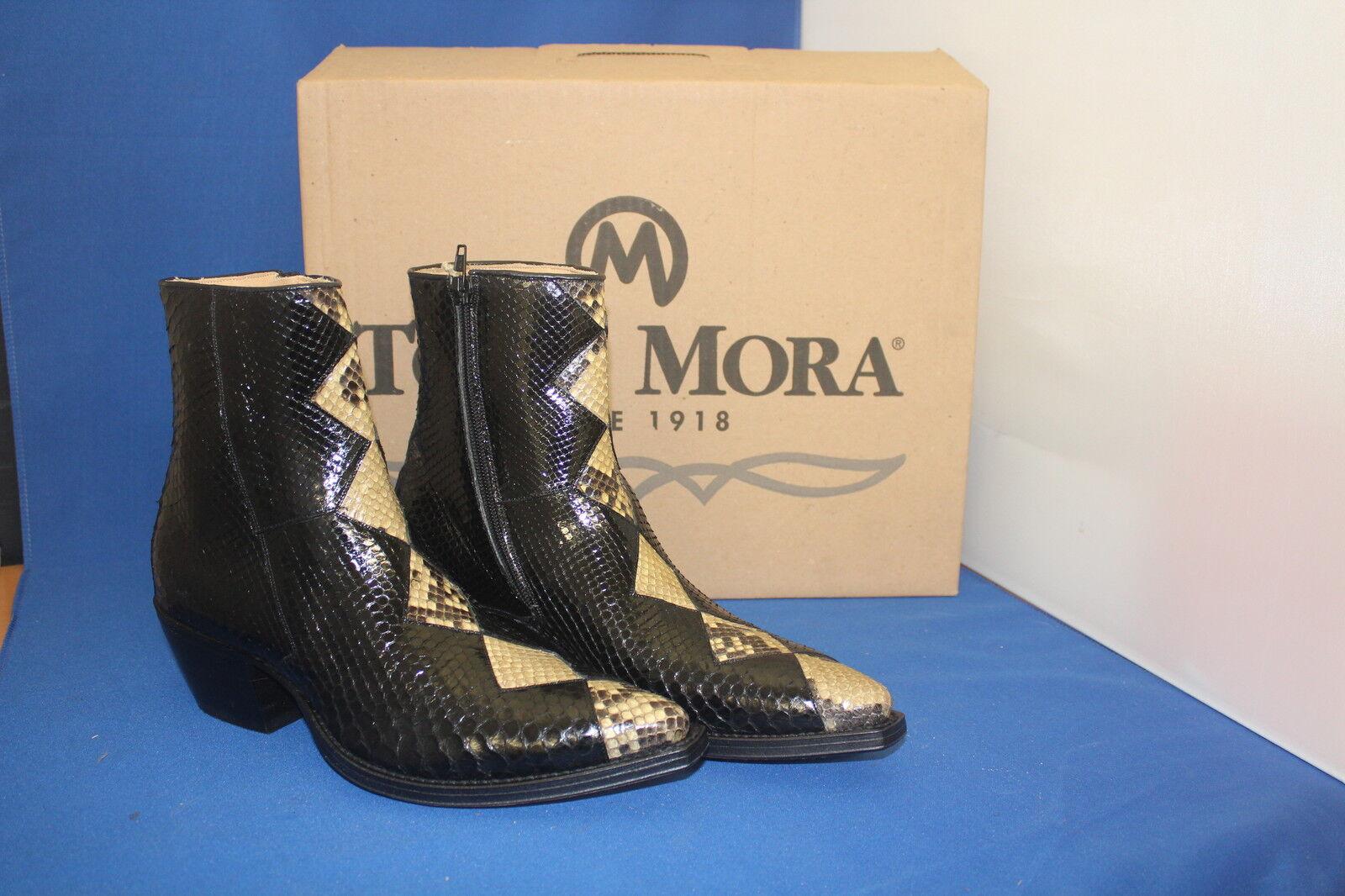 Tony mora botín botas vaqueras botín elegante negro nuevo talla. 39 Python