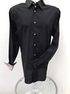 Paul-Smith-Mens-Gents-Collar-Size-16-M-Black-Long-Sleeved-Shirt-BNWT