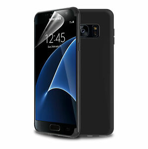 best service b5a5a c5b07 Details about Phone Case For Galaxy S7 Edge Black TPU Silicone Rubber  Screen Protector Film UK