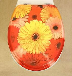 Toilet Seat Funky Pink & Yellow Gerbera Flower Design Novelty | eBay