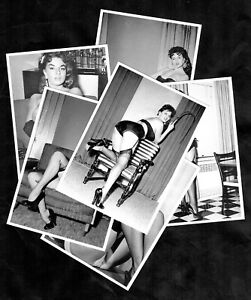 Jackie-Miller-Sexy-1950s-USA-Glamour-Pinup-Model-Postcards-Set-Stockings-Nylons
