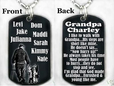 PERSONALIZE WITH NAMES GRANDPA AND ME POEM Dog tag Necklace//Keychain
