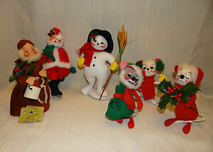 Annalee-Mobilitee-Christmas-Mice-Santa-Snowman-and-Monk-Vintage-Christmas