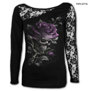 73c61b7ad414 SPIRAL DIRECT Ladies Goth Purple SKULL ROSE Lace Top L Sleeve All ...
