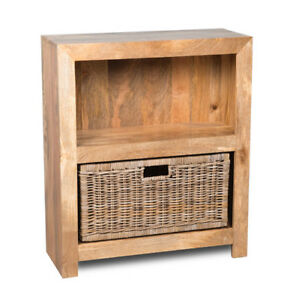 new arrival 0c547 1e774 Details about SMALL LIGHT DAKOTA BOOKCASE WITH RATTAN WICKER BOOKCASE  BASKET (54L&B42G)