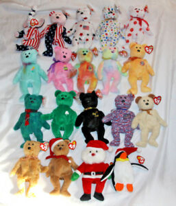 25519eaf6b1 TY BEANIE BABY ORIGINAL RETIRED LOT ALL TAGS END TEDDY BEAR ERIN ...