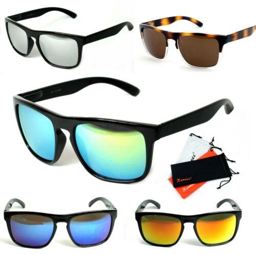 Große Rechteck Sonnenbrille Verspiegelt Retro Nerd Brille Herren Damen WF5 Etui