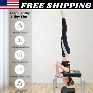 yoga fitness headstand bench iron legs pvc pads family gym