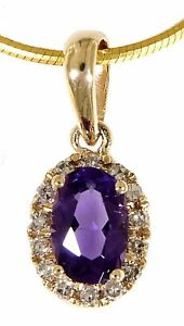 Amethyst Oval Birthstone 14K Yellow Gold 0.42 Carat Real Diamond Fine Pendant
