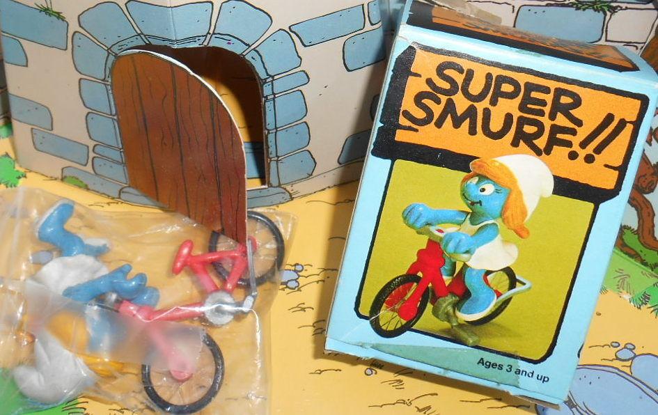 40236 Schtroumpfette bicyclette smurf pitufo puffi puffo puffo puffo Rarissime boite H.Kong 7ab4a4