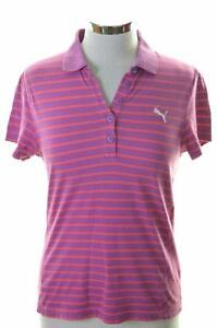 Puma-Womens-Polo-Shirt-Size-12-Medium-Purple-Stripes
