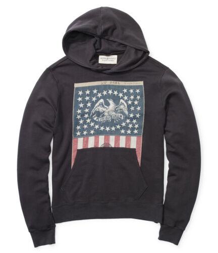 Polo Ralph Lauren Denim /& Supply Mens Americana Flag Slim Black Hoodie Sweater