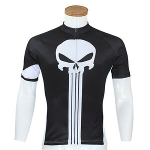 Punisher-Cycling-Jersey-Men-039-s-Bike-Bicycle-Jersey-Shirts-Jacket-Top-S-5XL-Black