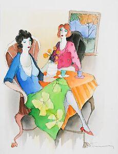 """"""" Au Café N°3 """" Par Isaac Tarkay Aquarelle Sur Papier 17 X 12.75 Avec / Coa"""