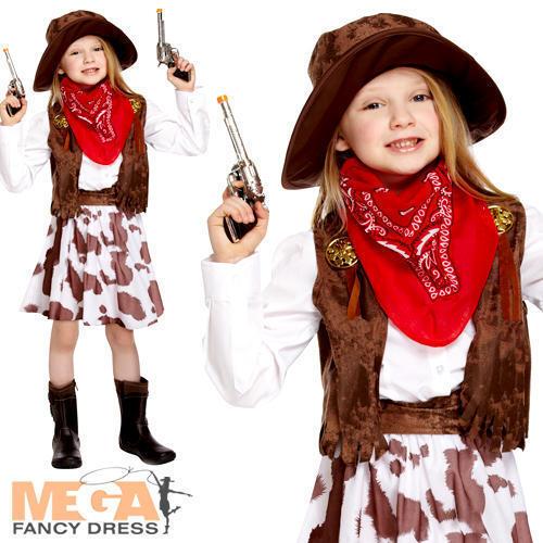 Cappello Cowgirl Per Bambine Costume Wild WESTERN PER BAMBINI LIBRO giorno Cow Girl Costume