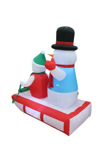 4 Foot Tall Christmas LED Inflatable Snowman Sleigh Wreath Yard Party Decoration