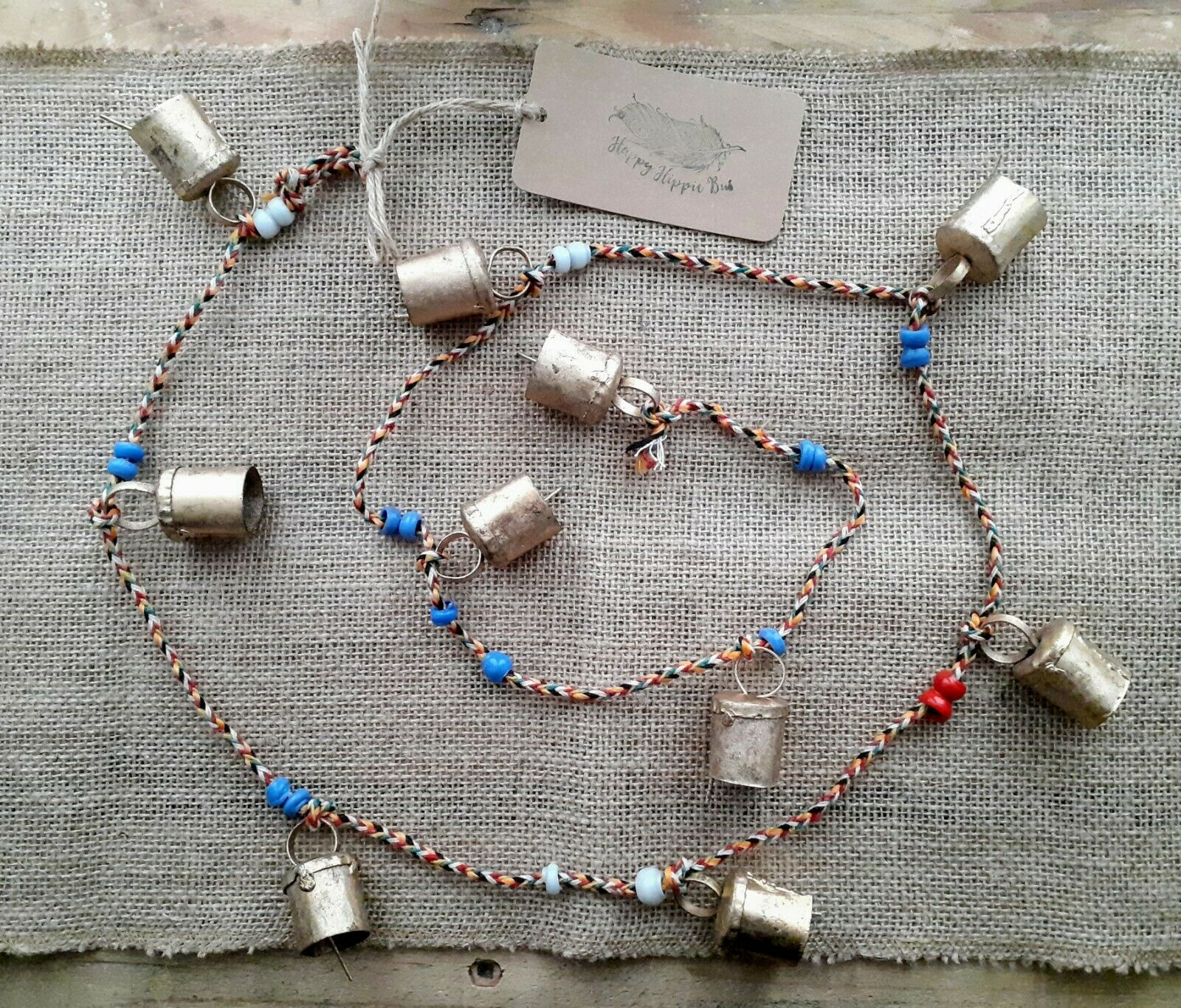 Indian Bells With Beads, Recycled Metal, Boho Chic Bells & Fairtrade, New