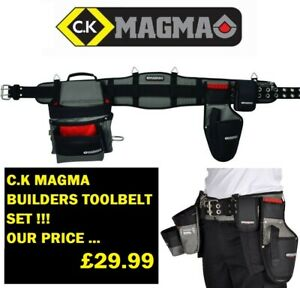 CK-Magma-Builders-Tool-Belt-Set-With-Tool-Pouch-amp-Drill-Holster-MA2714A