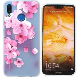 Pellicola Vetro Custodia Cover Fiori Pesco 3d Per Huawei P20 Lite