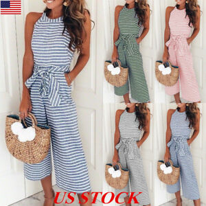 shop for outlet online 50-70%off Details about US Womens Sleeveless Striped Wide Leg Jumpsuits Summer Belted  Playsuits Culottes