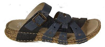 RIEKER Schuhe Pantoletten echt Leder blau Keilabsatz NEU | eBay