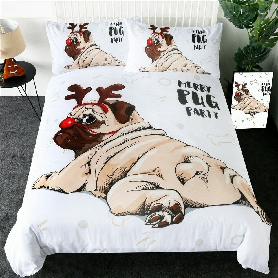Merry Pug Xmas Animal Pet Dog Double Single Quilt Duvet Pillow Cover Bed Set