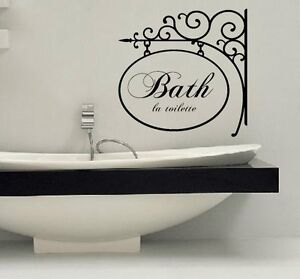 bathroom wall art decals. Image is loading BATH-LA-TOILETTE-Words-Bath-Vinyl-Decal & bathroom wall art decals | My Web Value