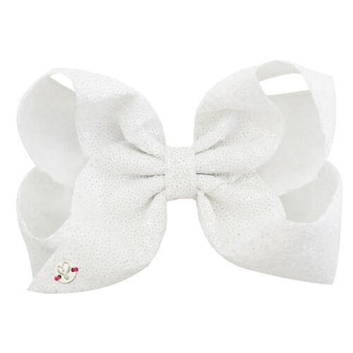 Lovely Girls 8 Inch Glitter JOJO Hair Bow Alligator Clip Ribbon Sequins Hairpin