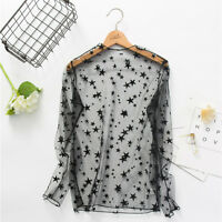 Womens Mesh Floral Embroidered Blouse Casual See Through Sheer Crop Top T Shirt
