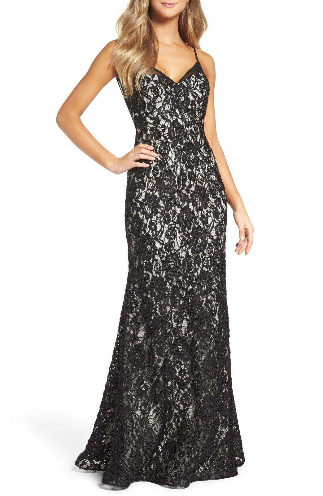 Vestido de noche  desnudo Negro magnífico Encaje Slipdress XSCAPE talla 2 Nuevo Con Etiquetas  278  contador genuino