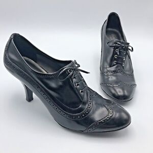 Franco-Sarto-Deer-Women-Black-Wingtip-Heel-Shoe-Size-9-5N-Pre-Owned