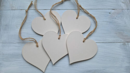 Heart Gift Tags x 5 Pre Painted Jute Wedding Decoration Crafts Favours Cream