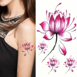 Temporaere-Tattoos-Lotusbluete-Blume-Design-Temporary-Klebetattoo