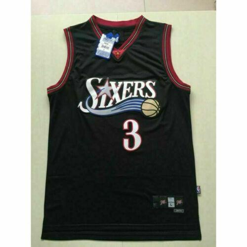 Philadelphia 76ers #3 Allen Iverson Black Swingman Basketball Jersey Stitched